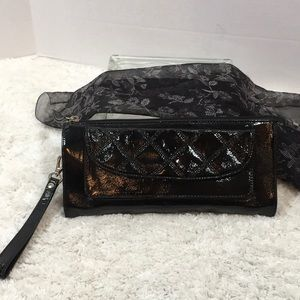 Talbots black patent leather large wristlet/clutch